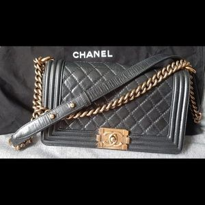 Chanel Le Boy medium with gold hardware. Firm pric